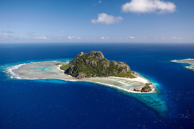 Aerial views, Monoriki island, Mamanuca islands. Fiji Islands.