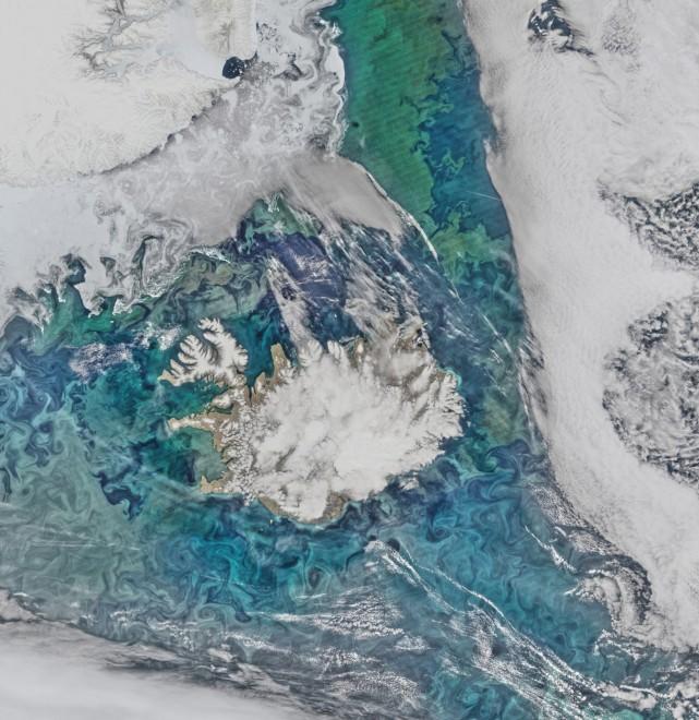 8. Фитопланктон и ледени късове, завихрени в Северния Атлантически океан