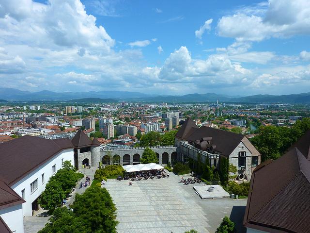 Der Innenhof der Burg Ljubljana