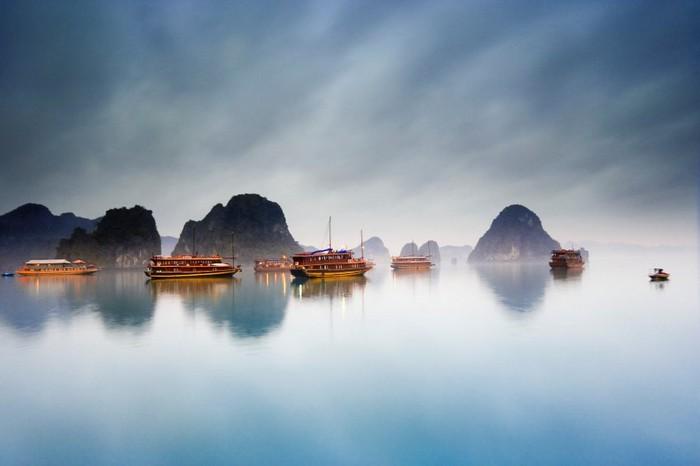 Junks in Halong Bay in Vietnam