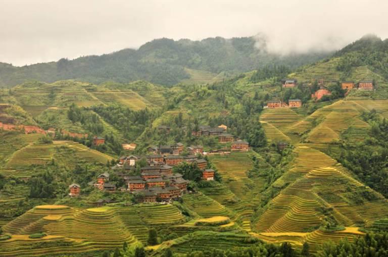 Villages on terraced field, longsheng