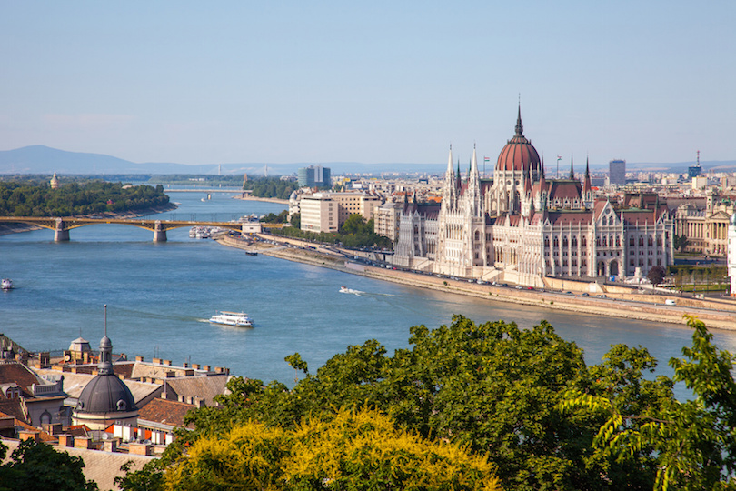 Hungarian Parliament building in Budapest, Hungary on a sunny day