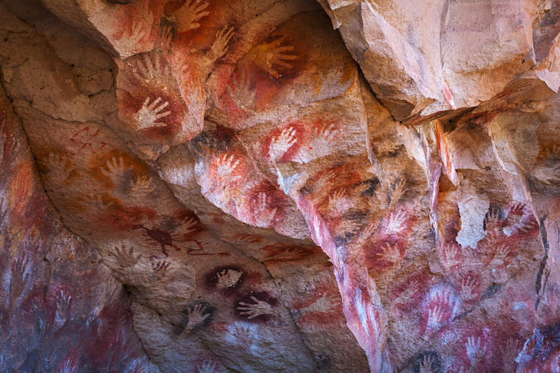 Cave paintings in the Cueva de las Manos, Patagonia, Argentina