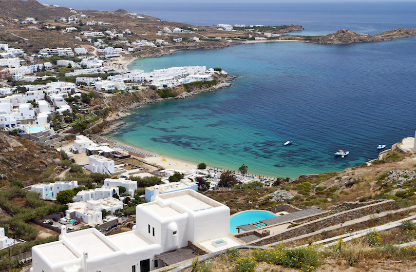 Platis gialos beach at Mykonos island in Greece