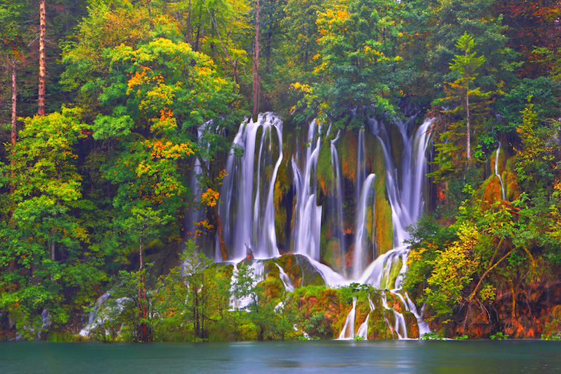 Autumn landscape background. Plitvice Lakes. Croatia.