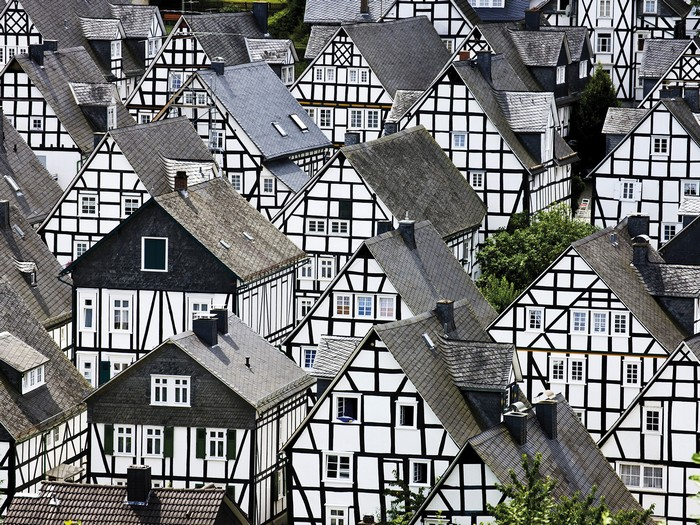 Germany North Rhine Westphalia Freudenberg half-timbered houses elevated view