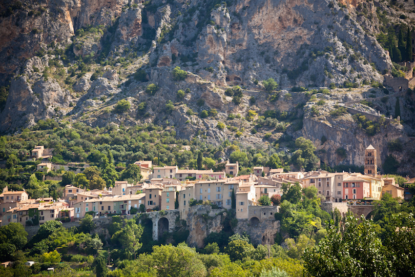 Moustiers-Sainte-Marie village view in Provence, France