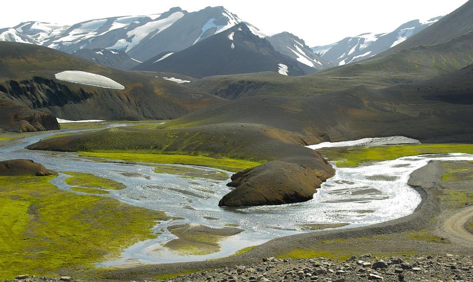 исландия, вода, река, планини